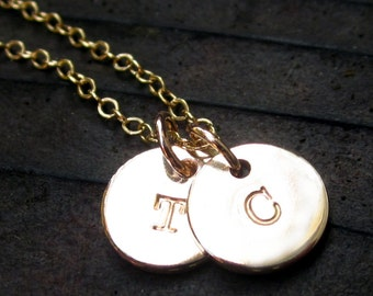 Hand Stamped Gold Filled Initial Charms for amandagreco