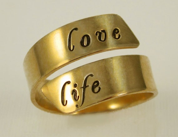 Adjustable Gold Filled Message Ring by donnaodesigns for alexapeyton