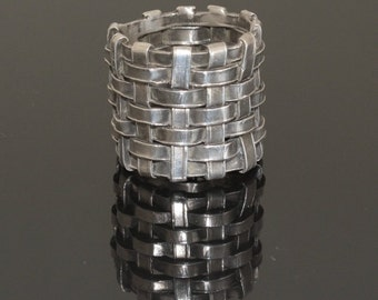 Silver mesh ring. Organic basket weave ring, sterling silver. SIZE 9.