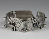 MADE TO ORDER - Shot Wave Bracelet. Sterling Silver. Gemstones