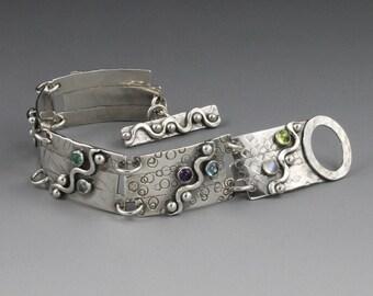 MADE TO ORDER - Sterling Silver Bracelet with Gemstones - Double ShotWave