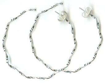 Argentium Sterling Wiggle --- 1.5in Hoop Earrings