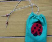 Ladybug Mini Satchel Pouch in Green