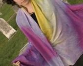 Green and Purple Silk Semi-circle Dance veil\/Sarong
