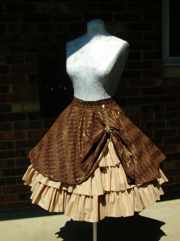 steampunk ruffle skirt with drawstring bustle