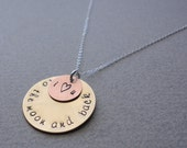 To the Moon and Back- Copper and Brass Layered Necklace