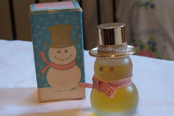 Avon Snowman Petite Field of Flower Perfume Bottle
