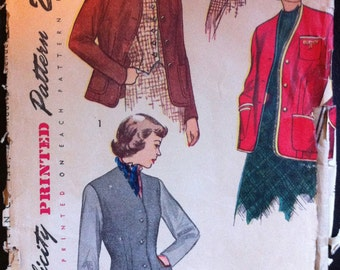 Simplicity 2936 1950's Pattern for Fitted Jacket/Blazer & Weskit (Waistcoat)