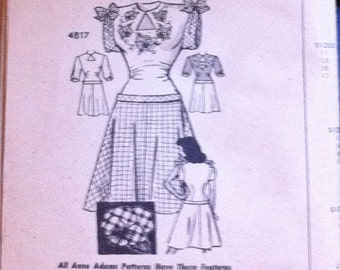 """1940's Anne Adams 4817 Pattern for Swing Dress With Appliques - ADORABLE - Size 15 Bust 33"""""""