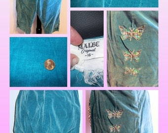 1950's Velveteen Capri Pants with Butterfly Appliques - Turquoise - S/M