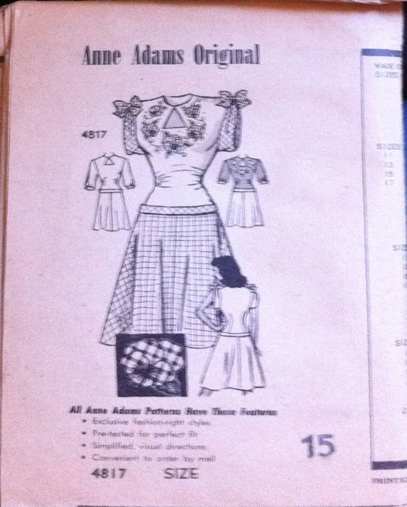 1940's Anne Adams 4817 Pattern for Swing Dress With Appliques - ADORABLE - Size 15 Bust 33""