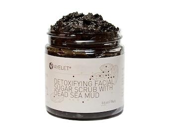 Detoxifying Facial Scrub Polish with Dead Sea Mud| Exfoliating Scrub| Organic Facial Scrub| Facial Scrub| Cleansing Scrub| Gift her