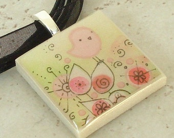 Pink and Perched Birdie polymer clay photo picture art pendant on organza ribbon necklace