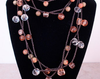 Peaches and Chocolate crochet wrap necklace, bracelet, lariat, versatile jewelry