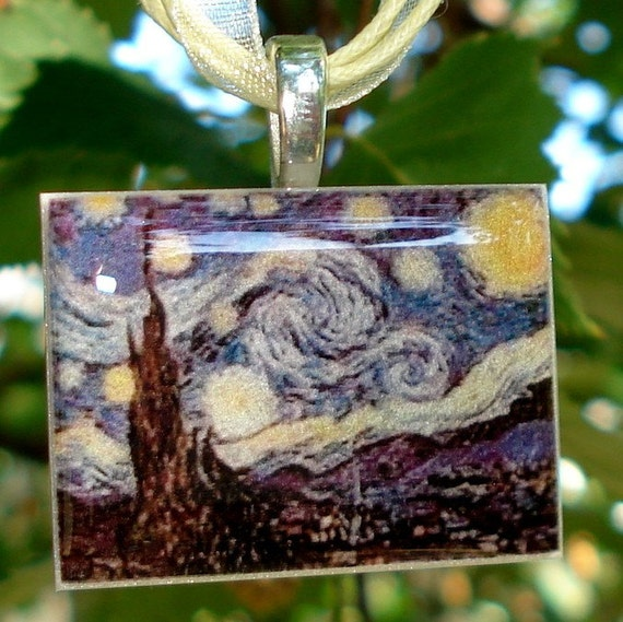 Starry Night by Van Gough polymer clay photo picture pendant with organza ribbon necklace