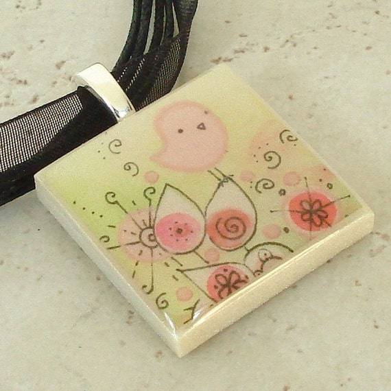 SALE! 50% OFF! Pink and Perched Birdie polymer clay photo picture art pendant on organza ribbon necklace