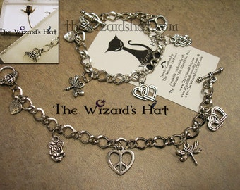Hearts and Roses toggle charm bracelet - READY to ship - 50% OFF SALE-reg 25.00