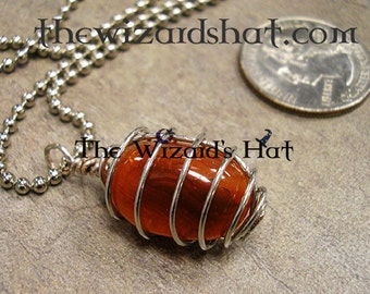 Carnelian hand wire wrapped on 30 inch steel ball chain necklace, the stone of ambition & drive, a stone for Careers
