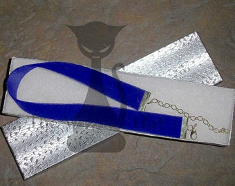 Royal Blue Velvet Choker or Collar with Silvertone clasps