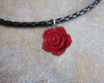 3D Red Rose Lucite charm on a 20 inch corded necklace