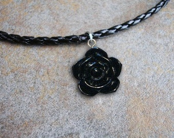 3D Black Rose Lucite charm on a 20 inch Leather Necklace