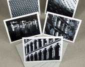 Black and White NYC Architecture Photo Cards w\/ envelopes - Set of 5