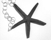 Reserved for Valerie - Black Slim Resin Starfish Necklace