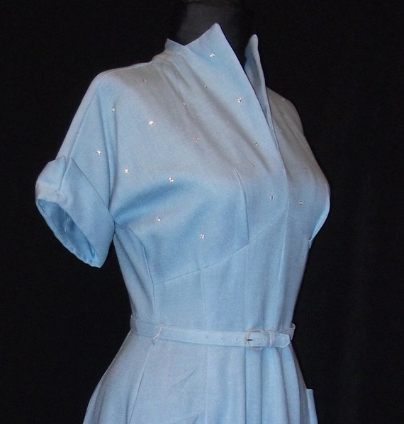 Reserved for GoGO: Vintage Dress, 1950's, New Look Dress, Day Dress, Linen, Rhinestones, Blue, small, FREE SHIPPING