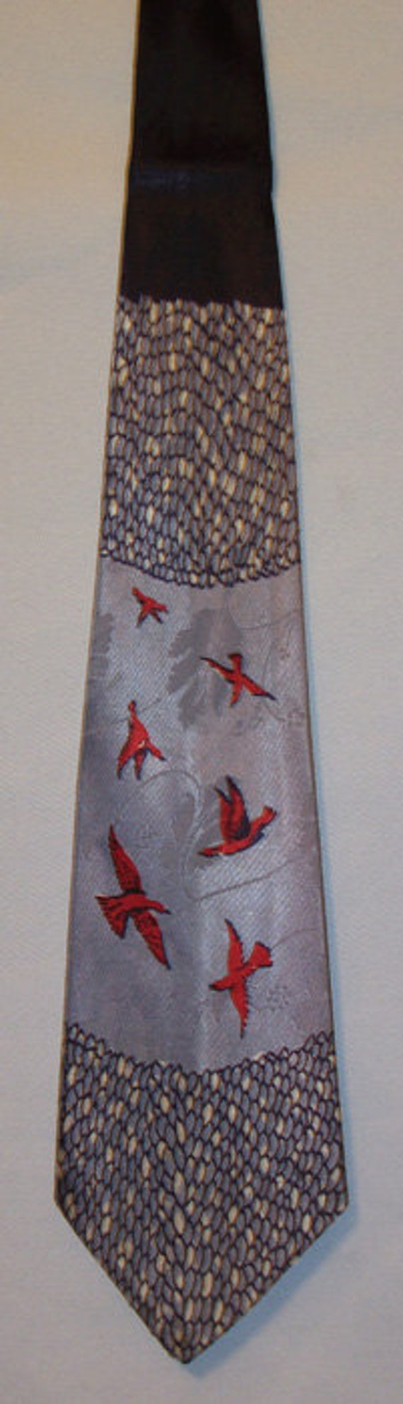 Vintage Tie, 1950's, Wide,  Cardinals, Silk, Embossed, FREE US SHIPPING