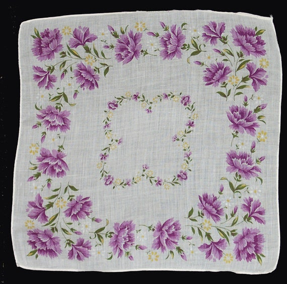 Vintage Hankie, Handkerchief, White, Lavender Flowers, 1950's, FREE US SHIPPING