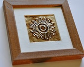 Stylized Sun in Repujado (Repousse) - Matted with Rustic Wood Frame