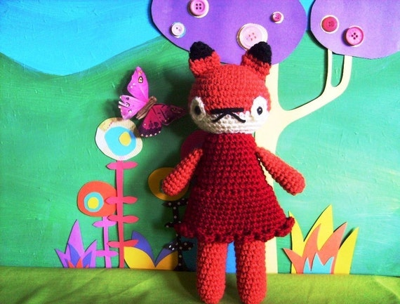 amigurumi fox toy forest animal crochet plushie girl doll .. little felicity .. toy
