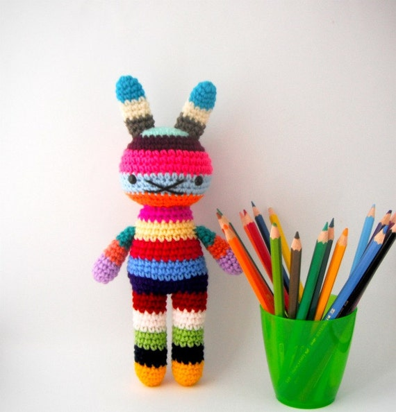 children rabbit toy amigurumi crochet doll rainbow .. big bow 3 .. children