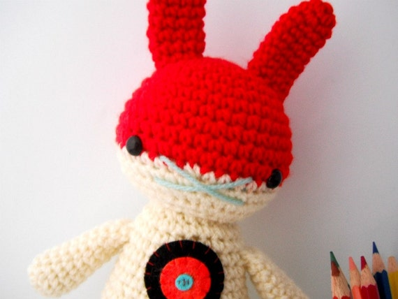 crochet toy amigurumi rabbit doll rainbow archery .. bullseye bunny 1 .. toy