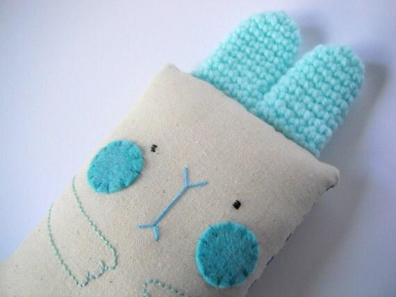 baby rattle toy children bunny rabbit plushie boy blue .. little chewer bunny RATTLE .. children