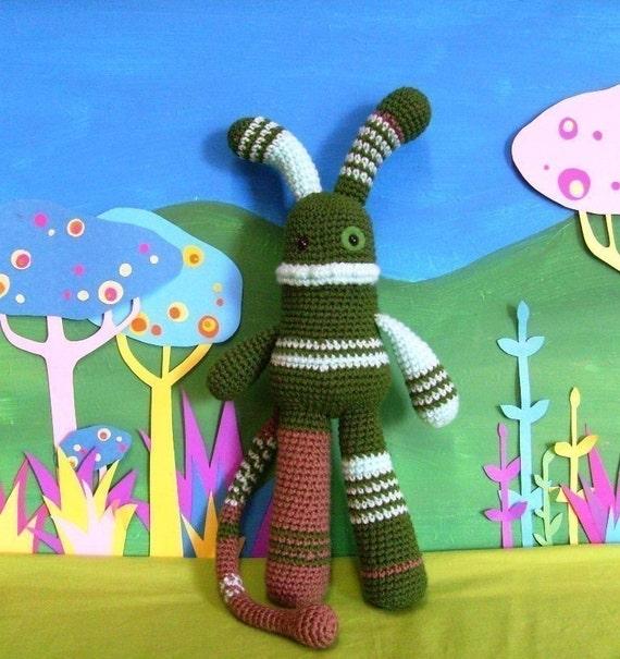 PATTERN- monster mash- barnabus, crochet amigurumi pattern for plush monster toy