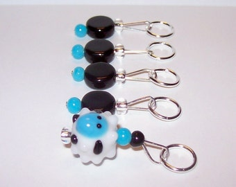 Blue Sheep stitch markers by AnniePurl