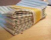 Set of Four Green Striped Napkins