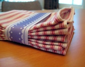 Set of Eight Red Striped Napkins- Reserved for Recy