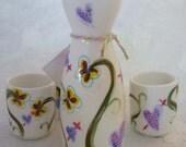 Handpainted Flower Sake Set - Ceramic - Lonely Hearts & Shrinking Violets