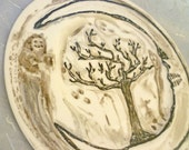 RESERVED for WOODLAND TRAILS -Halloween Plate Ghosts, Moon, Spooky Tree, Decorative Art