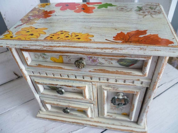 Upcycled Large Jewelry Box - Decoupage - Fruits Leaves and Flowers - Handpainted