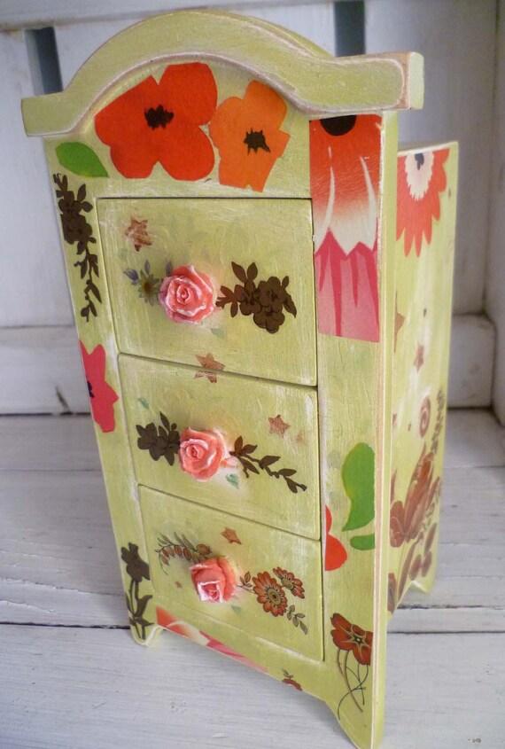 Decoupage Jewelry Box - Flowers Stars - Handpainted Functional Art - Roses