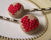 Follow Your Heart Cross Stitched Bobby Pin Set in Raspberry Iced Tea
