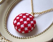 Red Cross Stitched Checkered Necklace / Embroidered / Gold Plated Chain