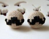 Mustacio Cross Stitched Earrings in Black
