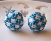 Teal and White Checkers Earrings Cross Stitched / Embroidered Posts Surgical Steel