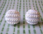 White Stripes Cross Stitched Monochromatic Earrings / Embroidered Posts Surgical Steel