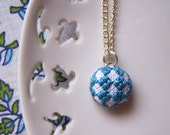 Tiny Teal Checkers Necklace - Silver Plated Chain - Cross Stitched