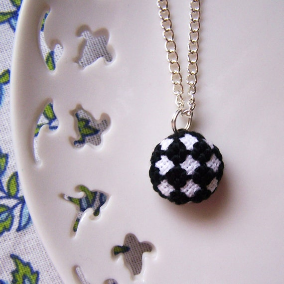 Tiny Black Checkers Necklace - Silver Plated Chain - Cross Stitched